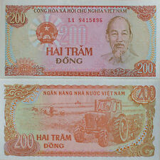 VIETNAM 200 DONG BANK NOTE UNCIRCULATED,ASIAN PAPER MONEY Currency 1987 UNC