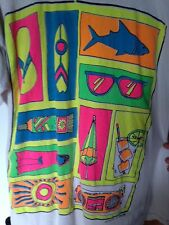 Vtg 80s FUN N SUN Surf Funky Neon Shirt Cotton One Size Vintage not Bad Boy Club
