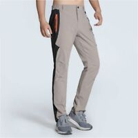 Mens Outdoor Hiking Pants Climb Quick Dry Trousers Sport Casual Black Solid Slim