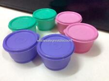 6 NEW GENUINE TUPPERWARE SMALL ROUND SNACK CUP 110ml PURPLE PINK GREEN BOWL SET