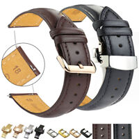 Watch Band Genuine Cowhide Leather Quick Release Strap Brown Black 18 20 22 24mm