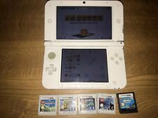 Nintendo 3DS XL White Handheld System Sold With Mario Case, Charger And 5 Games