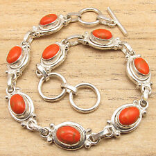 ORANGE COPPER TURQUOISE ART Bracelet ! Silver Plated Over Solid Copper