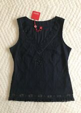 NWT~$39~Esprit~Black Lace Top~Size M~V-Neck~Fitted~Sleeveless~Embellished~Sequin
