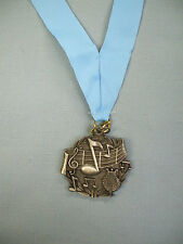 Music note silver medal award light blue neck drape