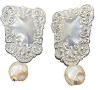 Vintage Sterling Silver Cultured Pearl Earrings Dangle Fine