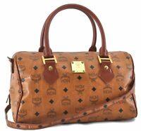 Authentic MCM Cognac Visetos Leather Vintage 2Way Shoulder Hand Bag Brown B8284