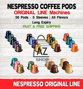 Nespresso Coffee 50 Pods Capsules 5 sleeves Original Line Machines - ALL FLAVORS