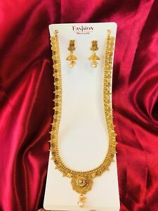 Bollywood Indian Bridal Temple Chain Necklace Earrings Jewellery Gold Set D7