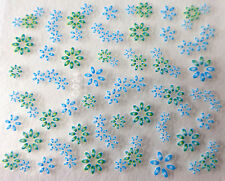Nail art stickers bijoux d'ongles autocollants mode: Fleurs - Vert et bleu