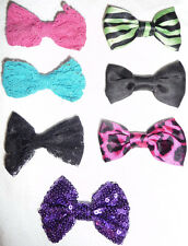 LOT 7 SMALL BOWS HAIR CLIPS PURPLE PINK BLACK BLUE SEQUIN ACCESSORIES BARRETTES