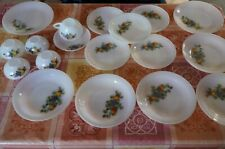 lot Arcopal Vintage décor fruits d'automne, assiettes, tasse, ramequins