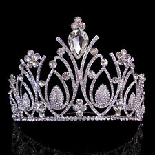 10.5cm High Large Full Crystal Wedding Bridal Party Pageant Prom Tiara Comb