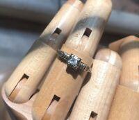 Vintage 14K White & Yellow Gold Genuine Diamond Engagement Ring. Size 6