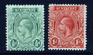 ST. VINCENT KG V 1921 ½d. Green & 1d. Red Wmk Mult Script CA SG 131 & 132 MINT
