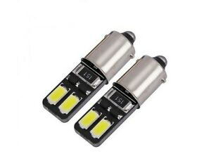 2x Ampoule BAX9S LED H6W Veilleuses 6000K Blanc pour Feux de position Veilleuses