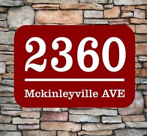 """Personalized Home Address Sign Aluminum 12"""" x 8"""" Custom House Number Plaque sq1"""
