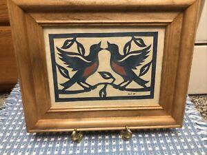 """Scherenschnitte Folk Art Framed Birds Blue Signed Bell 1988 9.5"""" X 7 3/4"""""""