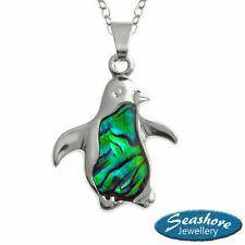 Penguin Necklace Paua Abalone Shell Pendant Silver Fashion Jewellery Gift Boxed