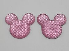 20 Pink Flatback Resin Dotted Rhinestone Gems Mouse Head 30mm