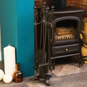 Black Companion Set 5 Piece Fire Tool Vintage Fireside Place Iron Twisted Handle