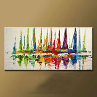 ZOPT276  huge modern abstract hand painted sail boat art OIL PAINTING ON CANVAS
