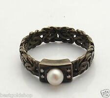 Size 8 Pearl & CZ Accent Byzantine Band Ring REAL 14K Gold Black Rhodium