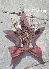 Country Prim Primitive Rustic WOOD STAR- Pip Berries-Dark Red