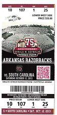 2013 ARKANSAS RAZORBACKS VS SOUTH CAROLINA GAMECOCKS TICKET STUB 10/12/13