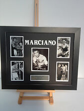 UNIQUE PROFESSIONALLY FRAMED, SIGNED ROCKY MARCIANO PHOTO COLLAGE WITH PLAQUE.