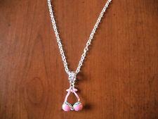 collier chaine argenté 46 cm avec pendentif haut de maillot de bain rose