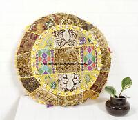 Patchwork Indien Handmade Sol Coussin Rond Housse Oreiller Méditation Décor Art