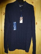 Mens IZOD Regular-Fit Peacoat Blue Cable Knit Quarter-Zip Sweater New Small