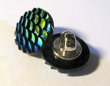 10 x Mermaid Scales BLUE AB iridescent Shank Back Buttons 12mm Wide (B125)