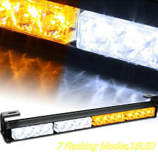 DC12V 16LED Amber&White Car Pickup Roof Emergency Strobe Light Flashing Lamp Bar