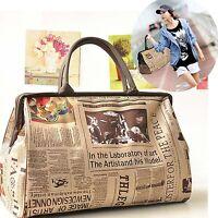 Damen Groß Handtasche Schultertasche Messenger Tasche Retro Modern Reisetasche