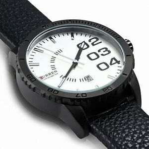 Man Watch Direction With Bracelet Black Leather Alloy Fashion