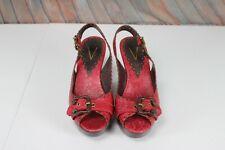 Vince Camuto Womens High Heel Shoes 8 B Red Brown Open Toe Slingback Hook & Loop