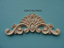 Decorative wooden scroll center onlay applique furniture moulding C650