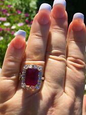 18K GOLD 10.10 CT GIA RUBY RED COPPER BEARING RUBELLITE TOURMALINE DIAMOND RING