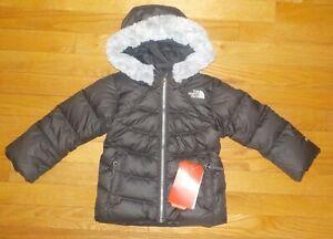 The North Face Girls Polar Jacket Gray Down Parka Faux Fur Trim 550 Fill 2T 3T