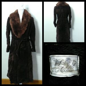 Saks Fifth Avenue Leather Sherpa Coat Women's Med. Long Brown Belted Inv#S9633