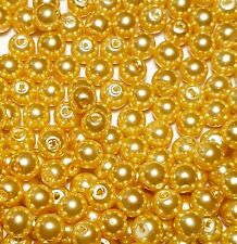 100 x 6mm Pale Golden Yellow Glass Pearl Beads Jewellery Making Crafts