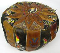 """RARE Antique 18"""" Egyptian Revival Leather Hassock Puff Pouf Foot Stool Ottomon"""