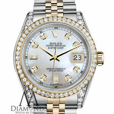 Women's Rolex Stainless Steel & Gold 31mm Datejust White MOP 8+2 Diamond Dial