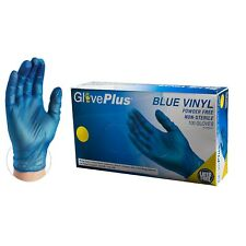 1000/cs GlovePlus IVBPF Blue Industrial Latex Free Vinyl Disposable Gloves