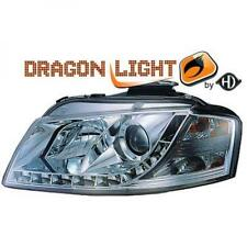 LHD Projector Headlights Pair LED Dragon Clear Chrome For Audi A3 03-08