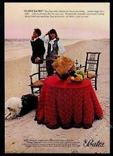 1966 Old English Sheepdog photo on beach Bates table fashions vintage print ad