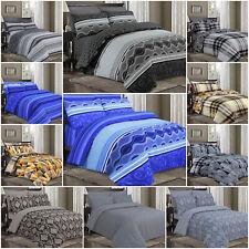 Luxury 100% Cotton Reversible Quilt/Duvet Cover Set With Pillowcases + BedSheet