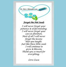 Personalised Forget Me Not Seeds Nursery School Teacher Thank You End Term Gift